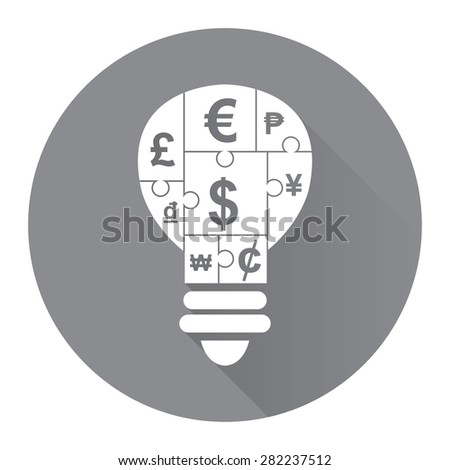 Black Circle Various Currency Sign Puzzle in Light Bulb Flat Long Shadow Style Icon, Label, Sticker, Sign or Banner Isolated on White Background - stock photo
