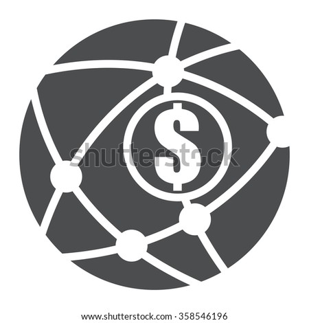 Black Circle Worldwide, Business Connection Infographics Flat Icon, Sign Isolated on White Background  - stock photo