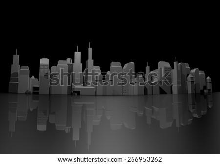 Black city - stock photo