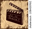Black clapboard isolated on vintage background. Hand drawing sketch vector illustration - stock photo