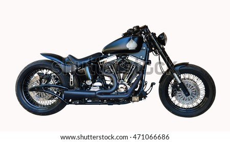 black classical chopper motorcycle isolated over white