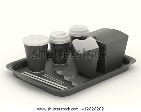 Black clear set of utensils for fast food. Net Pattern for design. Clean mockup template with tray, paper cups, wok box, packaging for french fries, rolls, spoon, cup of coffee, sauce. 3d illustration - stock photo