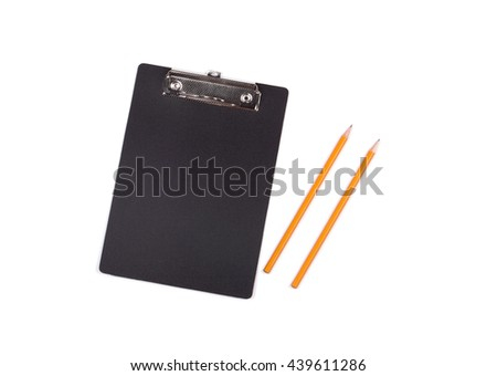 Black clipboard on white background. Business concept