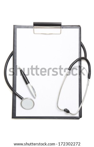 black clipboard with blank paper sheet, stethoscope and pen isolated on white background - stock photo