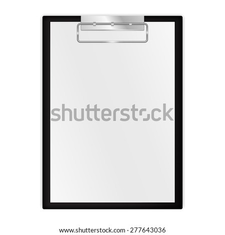 Black clipboard with blank sheets of paper. Raster version - stock photo