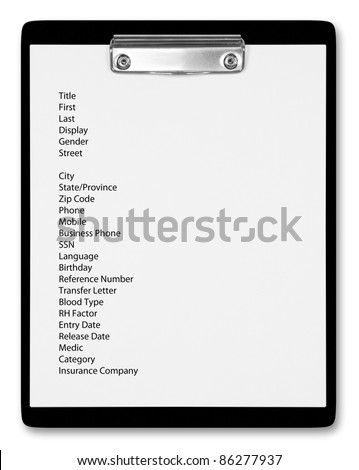 Black clipboard with patient file. - stock photo