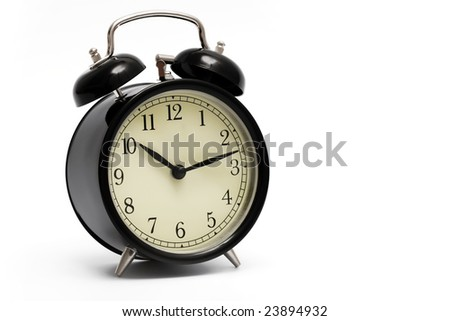 black clock with alarm bells on white background