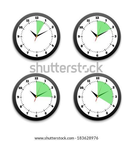 Black clocks icon set. Set of timers. 5, 10, 15, 30 minutes. Raster version - stock photo