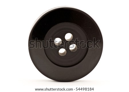 black clothes button ,isolated on white background - stock photo