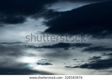 black cloud in darkness sky, night sky of halloween background - stock photo