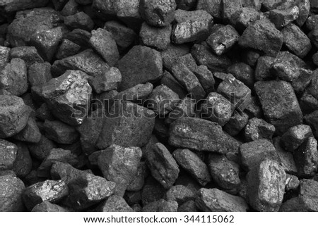 Black coals from coal mine, stack of coal - stock photo