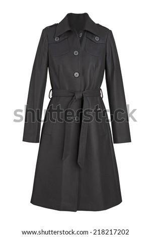 black coat isolated on white background - stock photo
