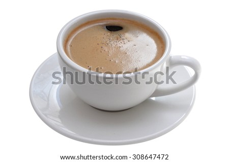Black coffee in a classic porcelain espresso cup, delicate brown froth still there. Isolated on white.