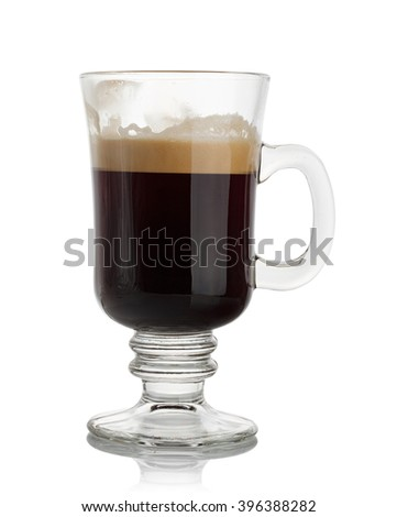 black coffee in a glass on white background - stock photo