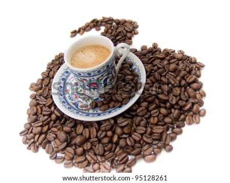 black coffee in national turkish pottery isolated over white - stock photo