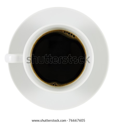 Black Coffee in White Cup. White Background. Shallow Depth of Field.