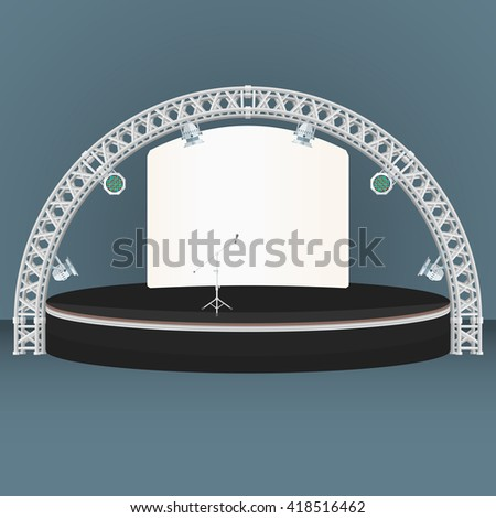 black color flat design estrade rounded stage metal truss rgb led lights devices microphone backdrop banner dark background isolated illustration  - stock photo