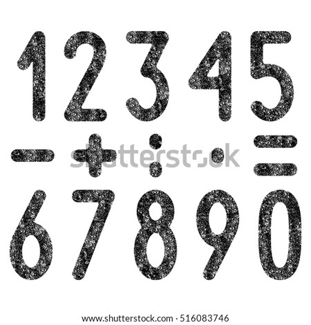 Black colored shabby old numbers and mathematical symbols set isolated on white background. Design elements