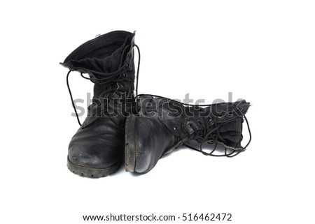 Black combat men boot, black Military boots at Through use, isolated with soft shadow on white background