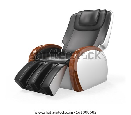 Black comfortable leather reclining massage chair with wood armrest, clipping path included. original design. - stock photo
