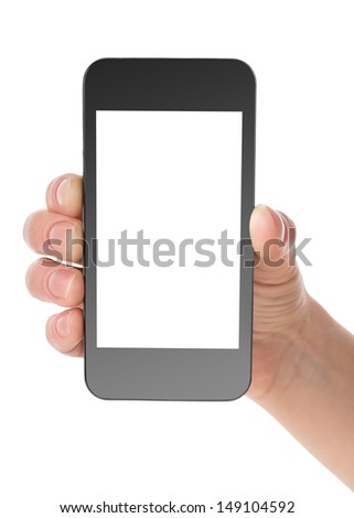 Black communicator in hand isolated on a white background - stock photo
