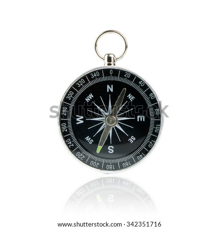Black compass instrument isolated on white background