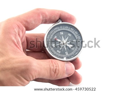 black Compass isolated on a white background - stock photo