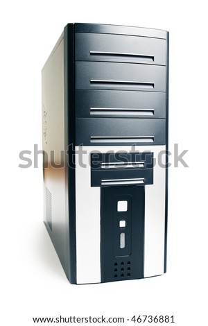 Black computer case over white - stock photo