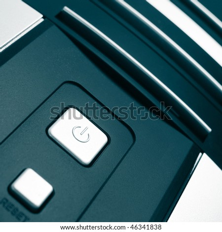Black computer case with buttons - stock photo