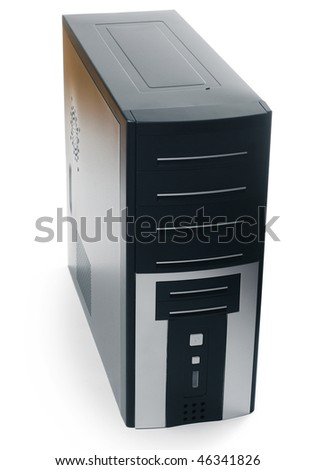 Black computer case with buttons isolated on white background