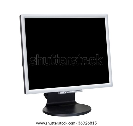 Black computer display isolated on white background
