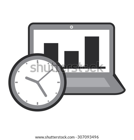 Black Computer Laptop With Bar Chart on Screen and Time Clock Infographics Flat Icon, Sign Isolated on White Background - stock photo