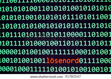 """Black computer screen with green binary 1 and 0, red text lösenord """"Password in Swedish"""" in the middle - stock photo"""