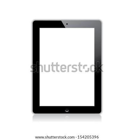 black computer tablet touchscreen. realistic illustration.(rasterized version) - stock photo