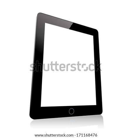black computer tablet with white blank screen. (rasterized version) - stock photo