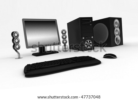 Black computer with speakers on a white background