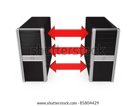 Black computers merged with a red arrows.Isolated on white background.3d rendered. - stock photo