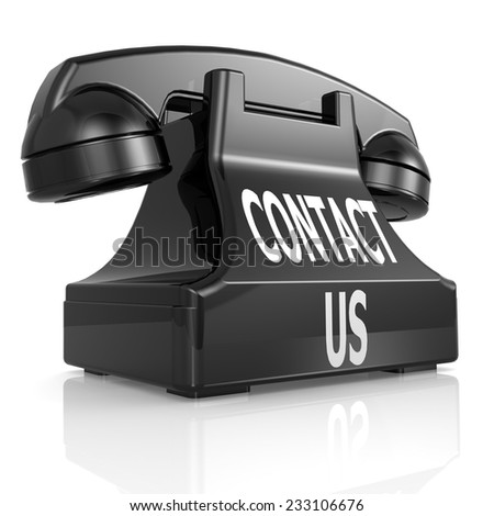 Black contact us phone - stock photo