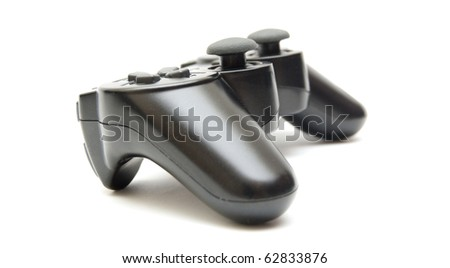 black controller isolated on white background - stock photo