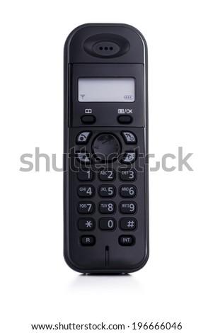 Black Cordless Telephone Isolated on White Background - stock photo