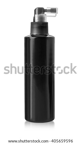 Black cosmetic bottles isolated on white with clipping path - stock photo
