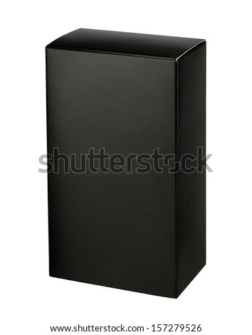 Black cosmetic packaging box / studio photography of black box for cosmetics - isolated on white background  - stock photo