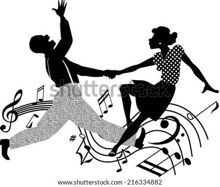 Black couple dancing rock and roll in black and white - stock photo