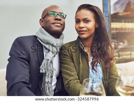 Black couple enjoying life and dating, trendy dressed - stock photo