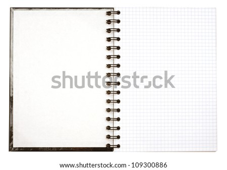 Black covered notebook with a metal spiral and white sheets in a cell isolated with clipping path on white background - stock photo