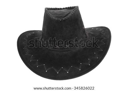 Black cowboy hat on white - stock photo