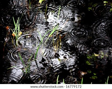 black creek and rain drops - stock photo