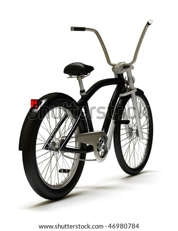 Black cruiser bicycle, isolated on white. 3D model - stock photo