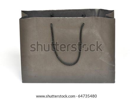 Black crumpled shopping paper bag - stock photo