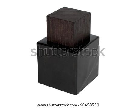 black cube perfume isolated on white background - stock photo